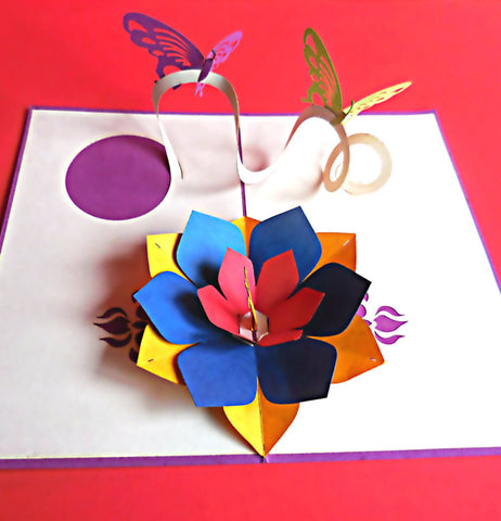 Purple Butterflies 3D Pop Up Greeting Card 1