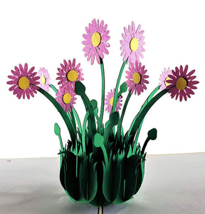 Purple Daisies 3D Pop Up Greeting Card 1