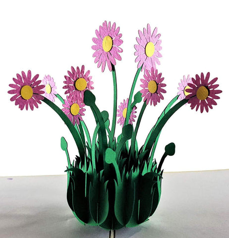 Purple Daisies 3D Pop Up Greeting Card 1 front