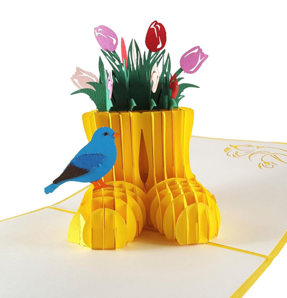 Rain Boot Flower Arrangement 3D Pop Up Greeting Card 1