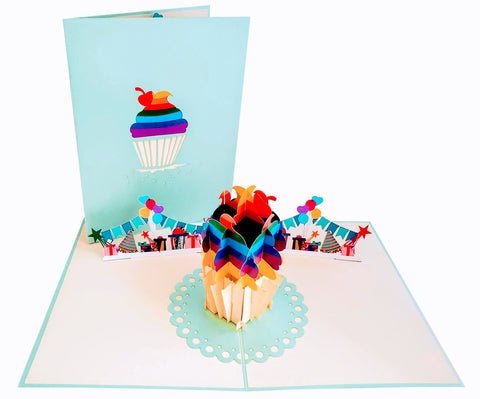 Happy Birthday Rainbow Cupcake 3D Pop Up Greeting Card