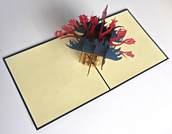 Red Flower Vase 3D Pop Up Greeting Card 2
