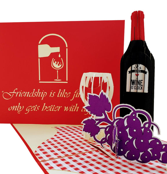 Red Wine 3D Pop Up Greeting Card 1 front