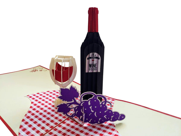 Red Wine 3D Pop Up Greeting Card 2