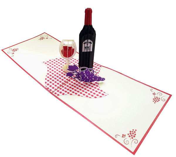 Red Wine 3D Pop Up Greeting Card 3