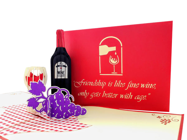 Red Wine 3D Pop Up Greeting Card 6