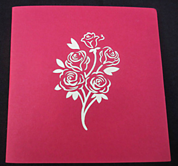 Red Rose Bouquet 3D Pop Up Greeting Card 3