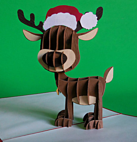 Reindeer II 3D Pop Up Greeting Card 1