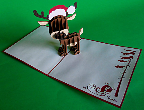 Reindeer II 3D Pop Up Greeting Card 2