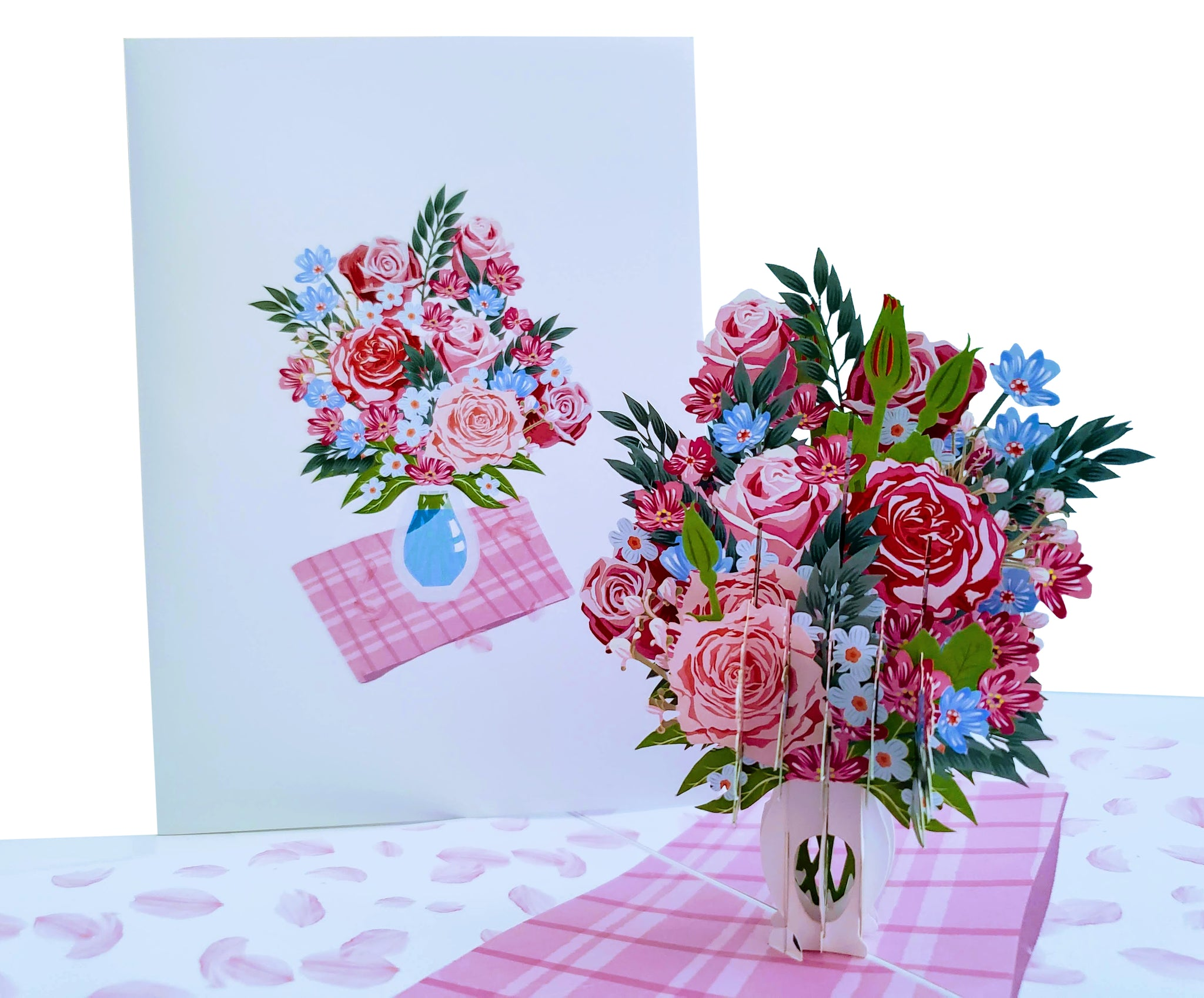 Springtime Roses Bouquet 3D Pop Up Greeting Card