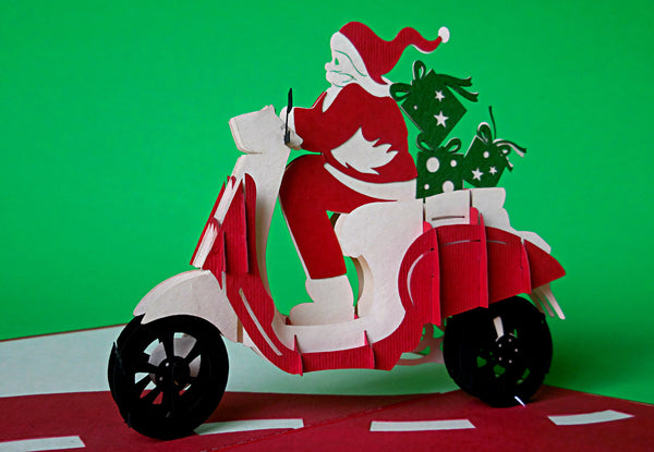 Santa in Scooter 3D Pop Up Greeting Card 2