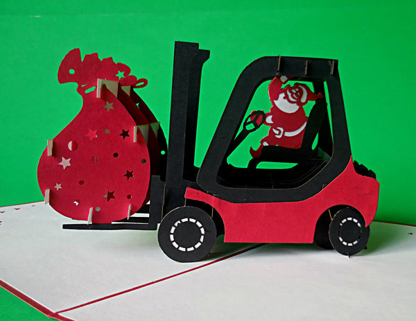 Santa in Forklift 3D Pop Up Greeting Card 2