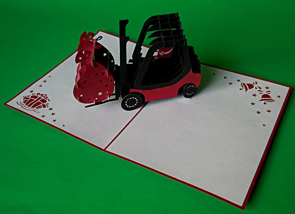 Santa in Forklift 3D Pop Up Greeting Card 3