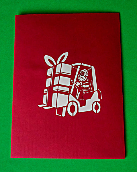Santa in Forklift 3D Pop Up Greeting Card 4