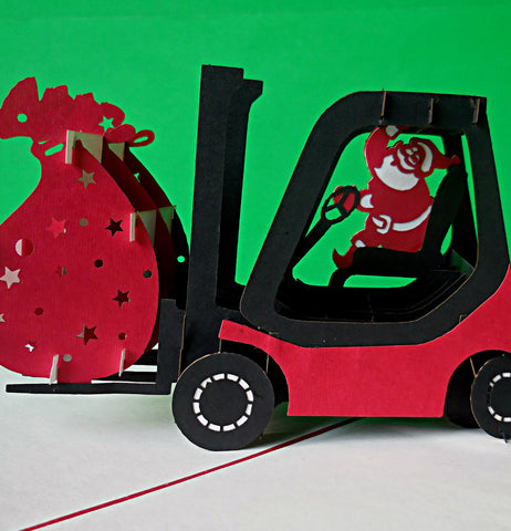 Santa in Forklift 3D Pop Up Greeting Card 1