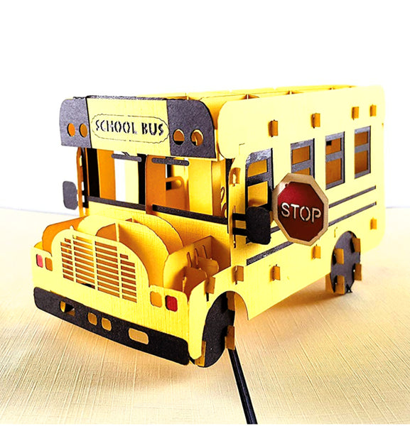 School Bus 3D Pop Up Greeting Card 1
