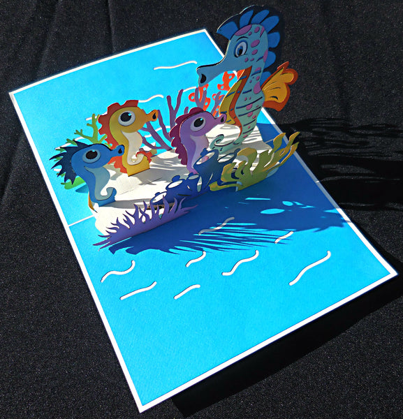 Seahorses 3D Pop Up Greeting Card 2