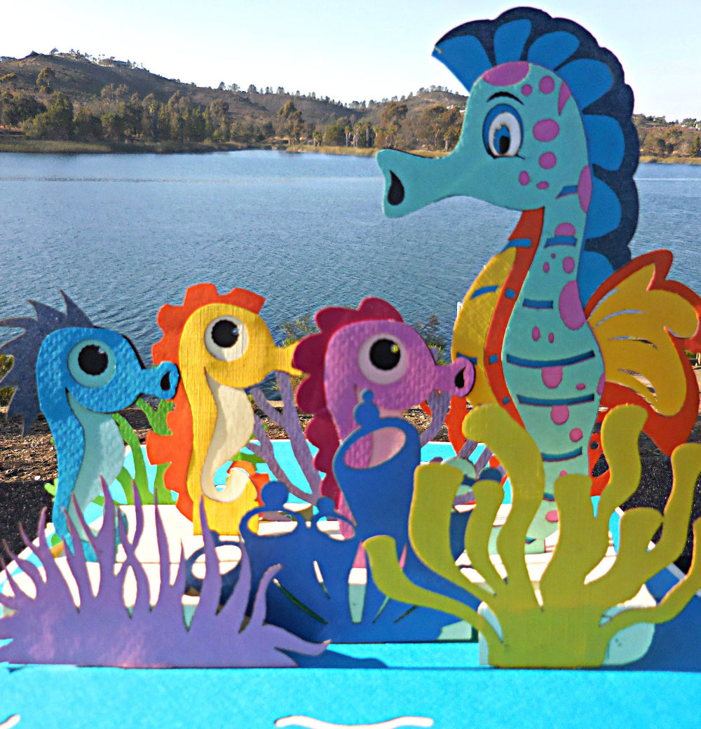 Seahorses 3D Pop Up Greeting Card 1