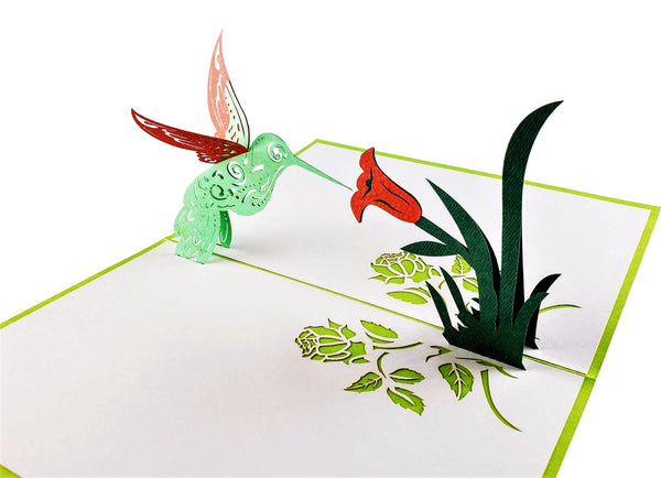 Season's Greetings Hummingbird 3D Pop Up Greeting Card 2