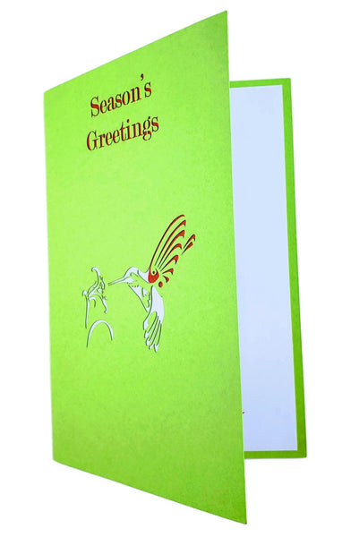 Season's Greetings Hummingbird 3D Pop Up Greeting Card 7