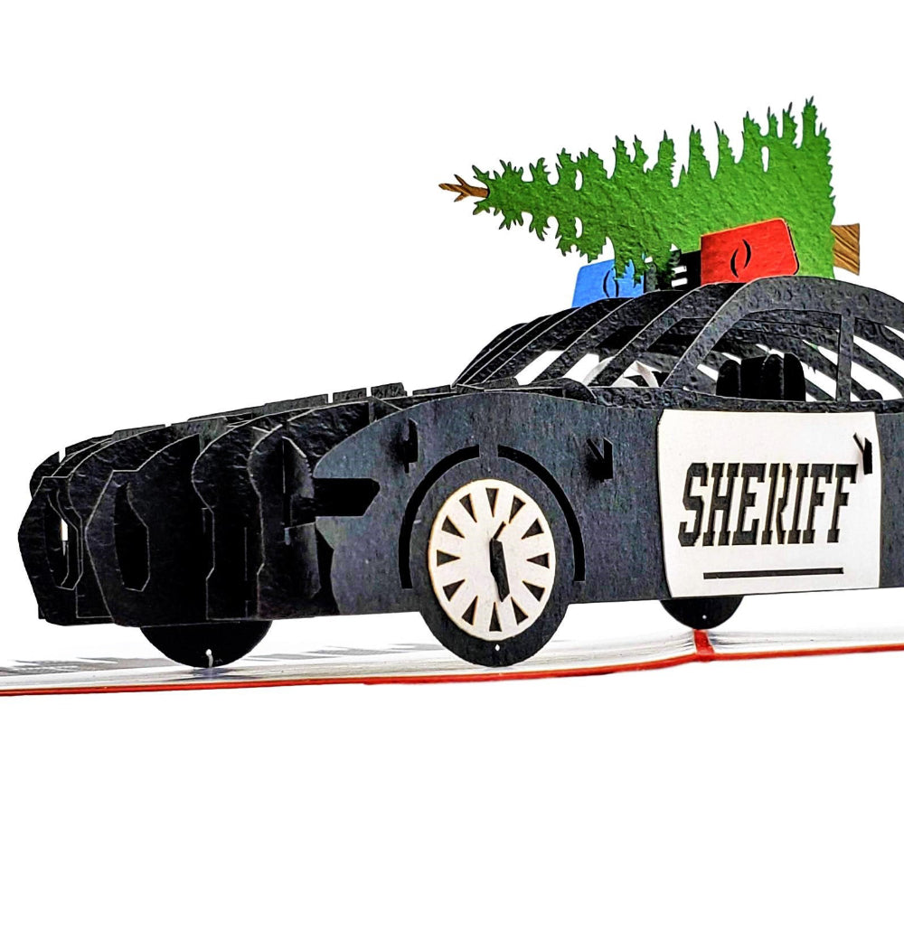 Sheriff Cruiser And Christmas Tree 3D Pop Up Greeting Card 1 front