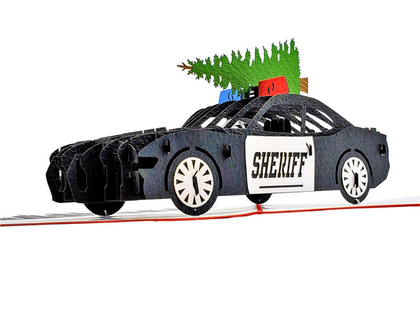 Sheriff Cruiser And Christmas Tree 3D Pop Up Greeting Card 1