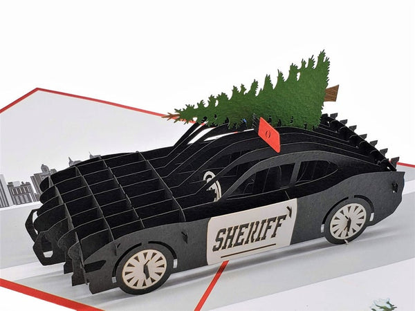 Sheriff Cruiser And Christmas Tree 3D Pop Up Greeting Card 2
