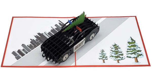 Sheriff Cruiser And Christmas Tree 3D Pop Up Greeting Card 3