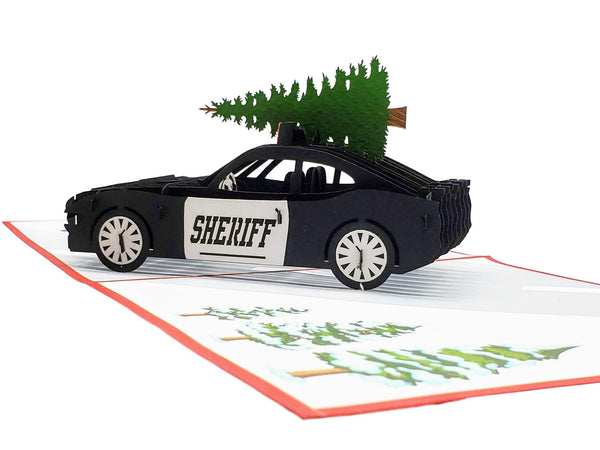 Sheriff Cruiser And Christmas Tree 3D Pop Up Greeting Card 4