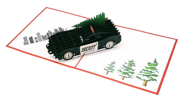 Sheriff Cruiser And Christmas Tree 3D Pop Up Greeting Card 6