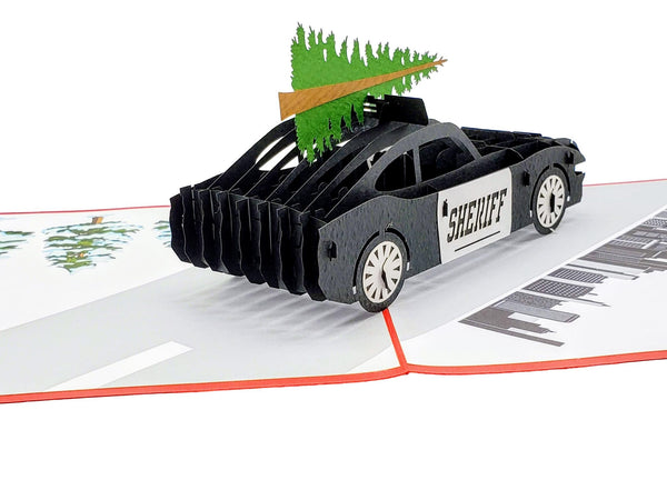 Sheriff Cruiser And Christmas Tree 3D Pop Up Greeting Card 7