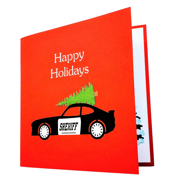 Sheriff Cruiser And Christmas Tree 3D Pop Up Greeting Card 8
