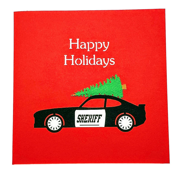 Sheriff Cruiser And Christmas Tree 3D Pop Up Greeting Card 9