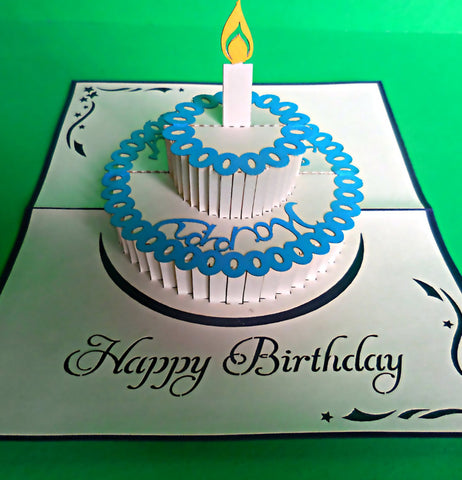 Single Candle (Blue) 3D Pop Up Greeting Card 1 front