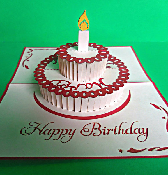 Single Candle (Red) 3D Pop Up Greeting Card 1 front