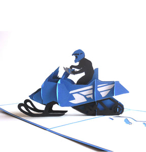 Ski Mobile 3D Pop Up Greeting Card 1