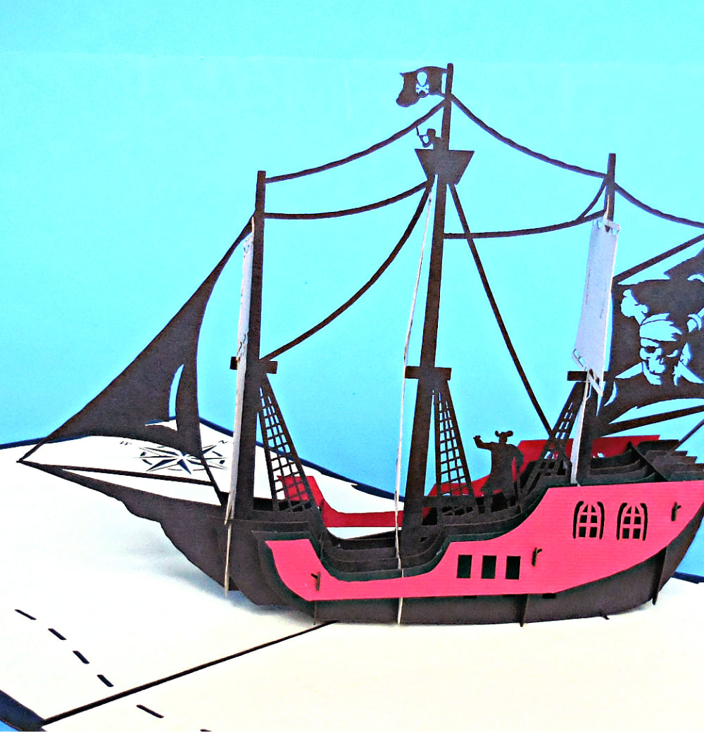 Small Pirate Ship 3D Pop Up Greeting Card 1