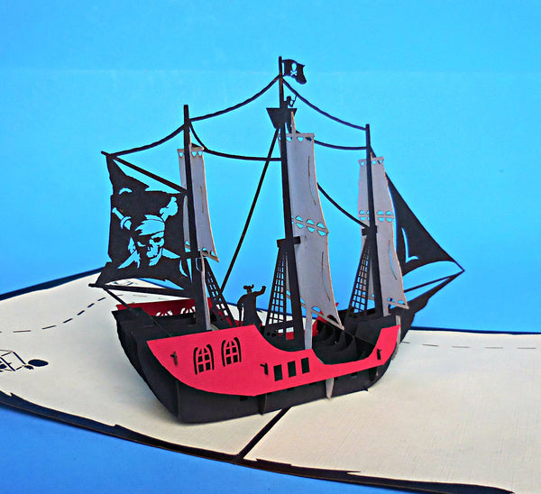 Small Pirate Ship 3D Pop Up Greeting Card 2