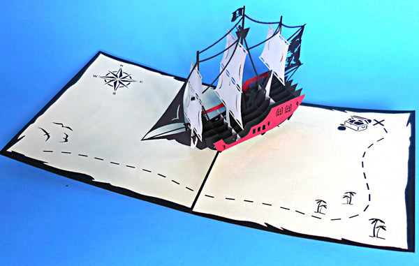 Small Pirate Ship 3D Pop Up Greeting Card 3