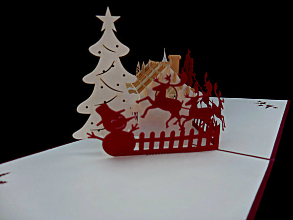 Snow House 3D Pop Up Greeting Card 2
