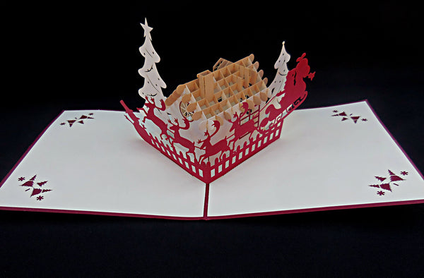 Snow House 3D Pop Up Greeting Card 4