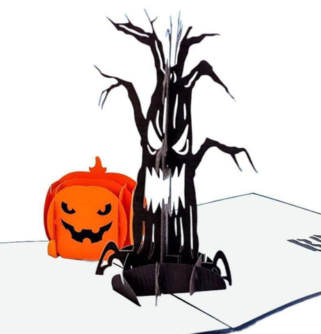 Spooky Tree and Jack-O-Lantern 3D Pop Up Greeting Card 1 front