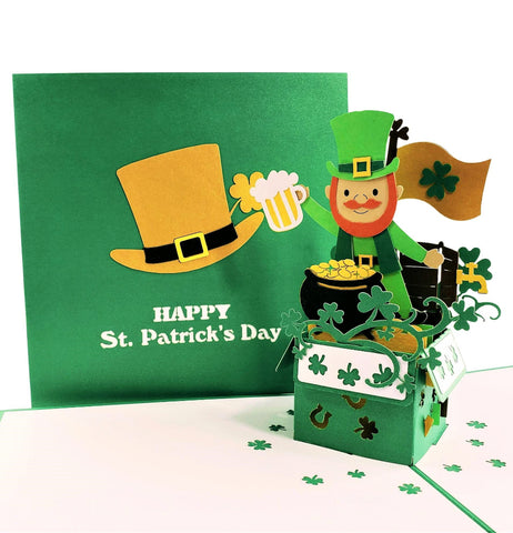 St. Patrick's Day Lucky Leprechaun 3D Pop Up Card 1