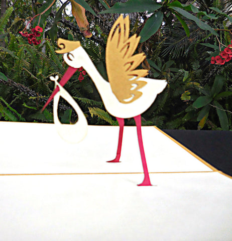 Stork 3D Pop Up Greeting Card 1