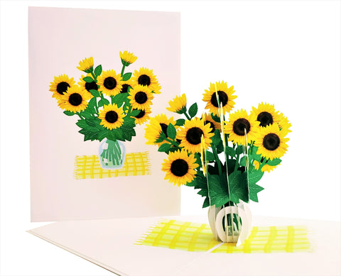 Cute Sunflowers 3D Pop Up Greeting Card