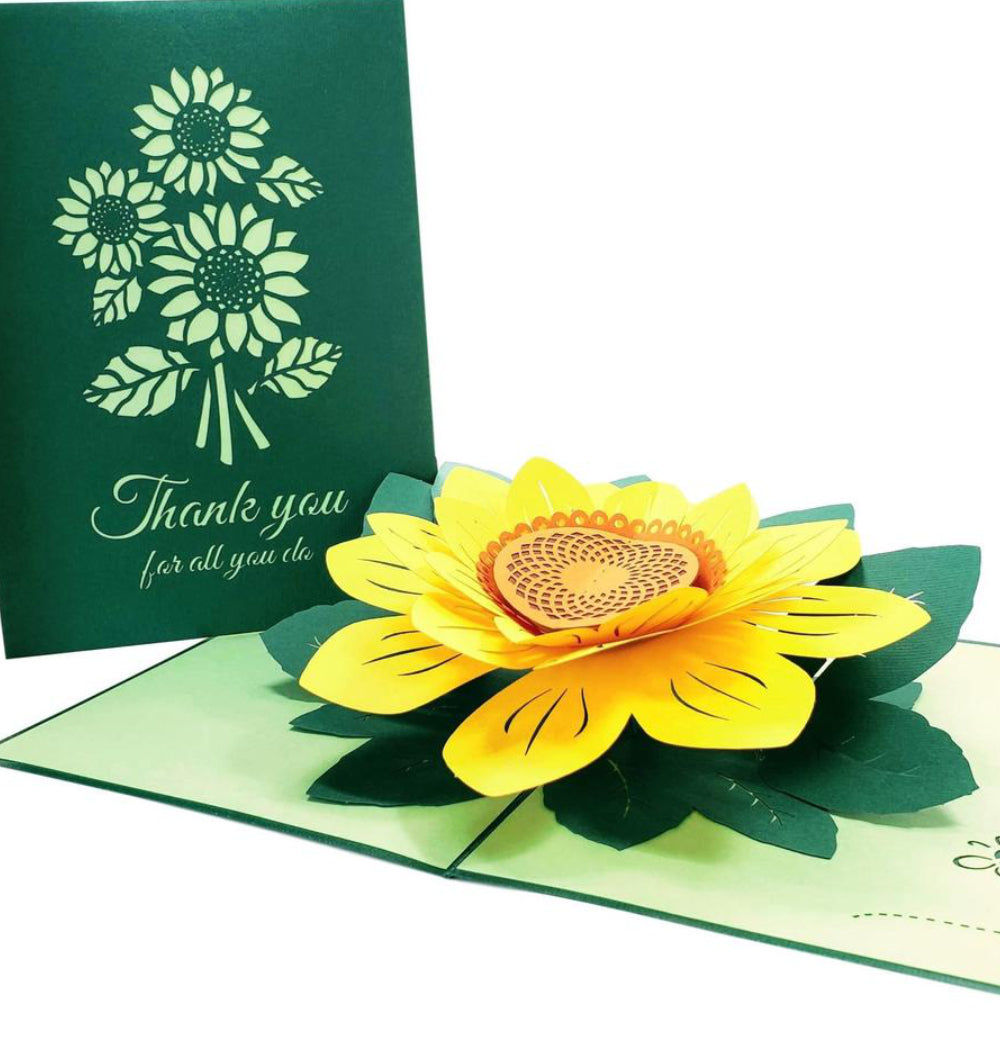 Sunflower Thank You 3D Pop Up Greeting Card 1 front