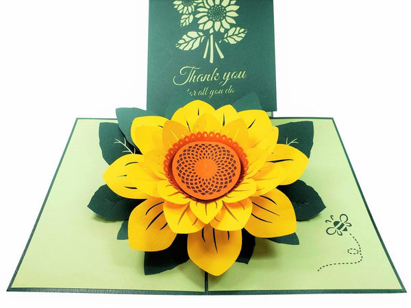 Sunflower Thank You 3D Pop Up Greeting Card 4