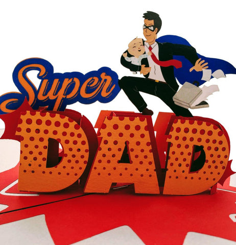 Super Dad 3D Pop Up Greeting Card 1 front