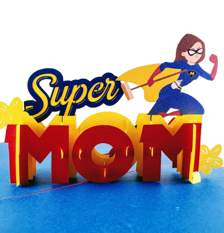 Super Mom 3D Pop Up Greeting Card 1 front
