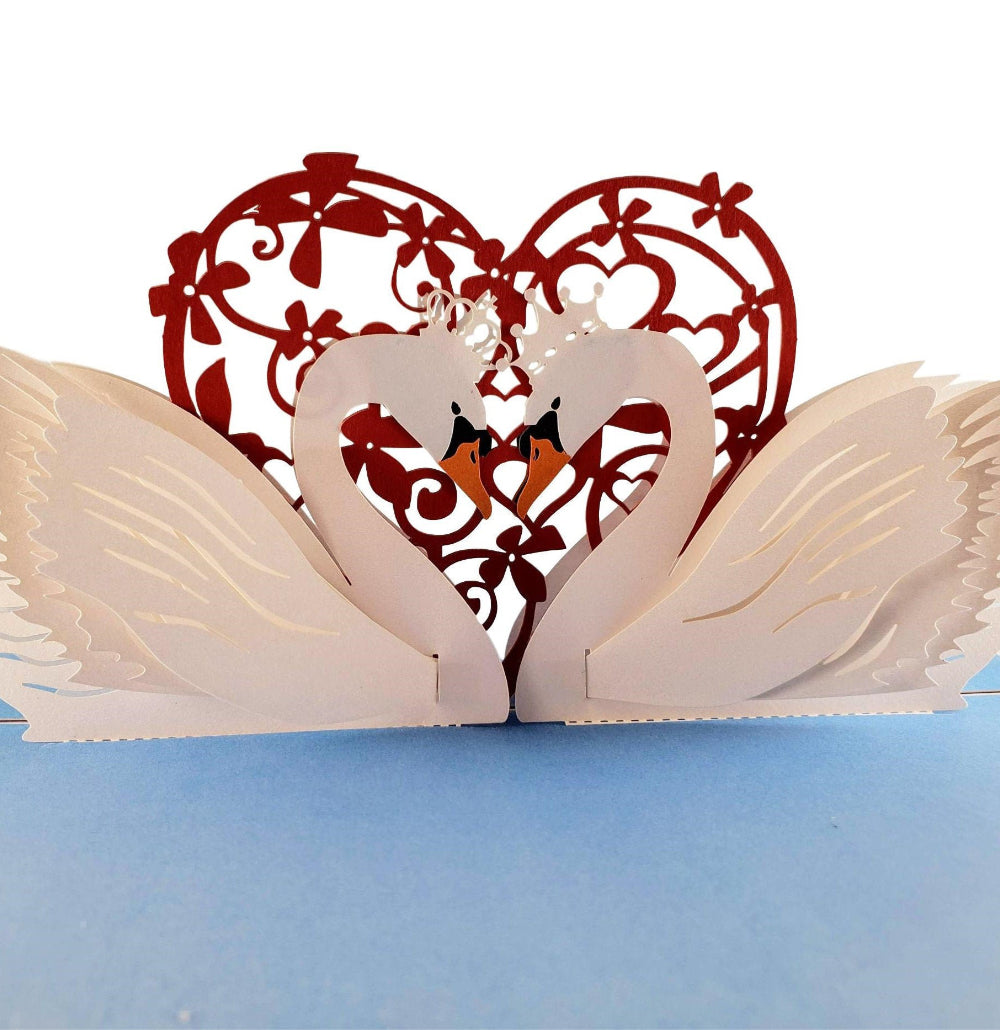 Swan Heart 3D Pop Up Greeting Card 01 front